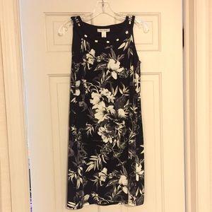 WHBM Black Floral Sleeveless Dress